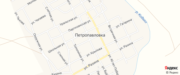 Зеленая улица на карте села Петропавловки с номерами домов