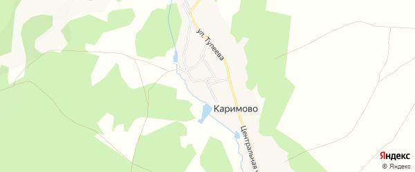 Карта деревни Каримово в Башкортостане с улицами и номерами домов