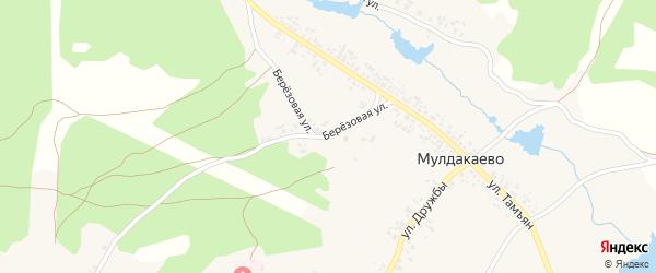 Березовая улица на карте деревни Мулдакаево с номерами домов