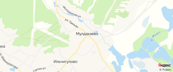 Карта деревни Мулдакаево в Башкортостане с улицами и номерами домов