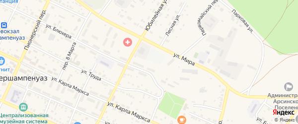 Восточный переулок на карте села Фершампенуаза с номерами домов