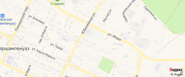 Переулок Победы на карте села Фершампенуаза с номерами домов