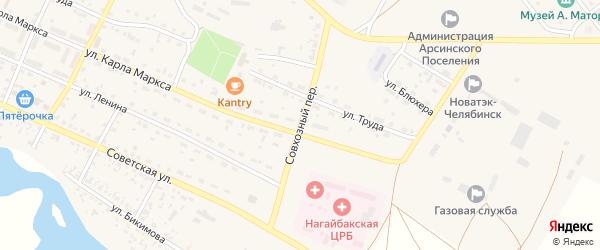 Совхозный переулок на карте села Фершампенуаза с номерами домов