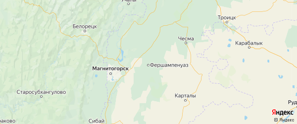 Карта Нагайбакского района Челябинской области с населенными пунктами и городами