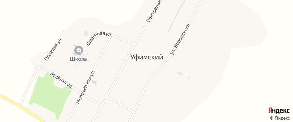 Зеленая улица на карте Уфимского поселка с номерами домов