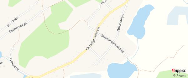 Октябрьская улица на карте поселка Ленинска с номерами домов