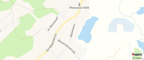 Дражная улица на карте поселка Ленинска с номерами домов