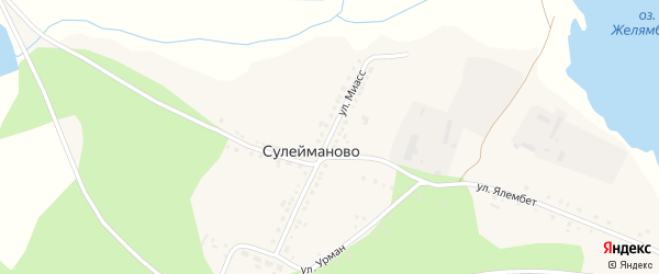Улица Миасс на карте деревни Сулейманово с номерами домов
