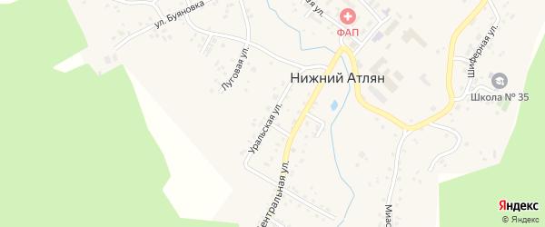 Уральская улица на карте поселка Нижнего Атляна с номерами домов