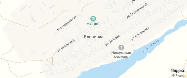 Улица Зайцева на карте села Еленинки с номерами домов