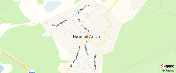Карта населенного пункта Кордон Верхний Атлян города Миасса в Челябинской области с улицами и номерами домов
