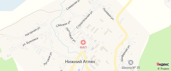 Улица Городок на карте поселка Нижнего Атляна с номерами домов