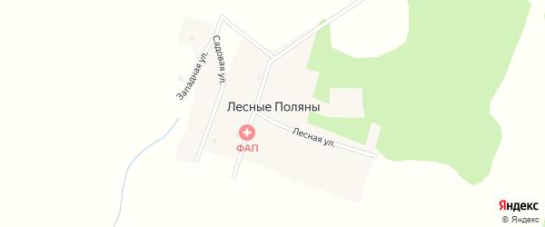 Западная улица на карте поселка Лесные Поляны с номерами домов