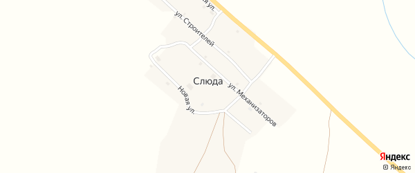 Школьная улица на карте деревни Слюды с номерами домов