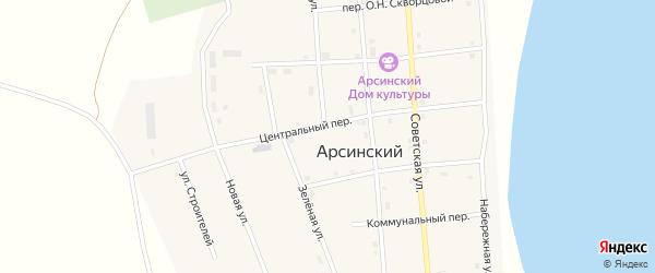 Зеленая улица на карте Арсинского поселка с номерами домов