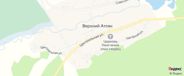 Центральная улица на карте поселка Верхнего Атляна с номерами домов