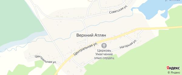 Береговая улица на карте поселка Верхнего Атляна с номерами домов