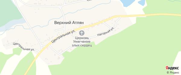Нагорная улица на карте поселка Верхнего Атляна с номерами домов