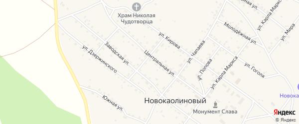 Улица Гагарина на карте Новокаолинового поселка с номерами домов