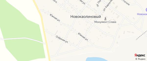 Южная улица на карте Новокаолинового поселка с номерами домов