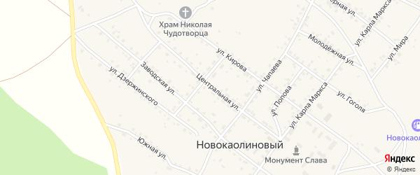 Центральная улица на карте Новокаолинового поселка с номерами домов