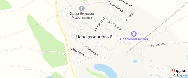 Карта Новокаолинового поселка в Челябинской области с улицами и номерами домов