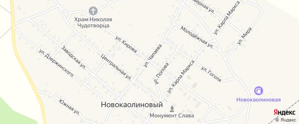 Улица Кирова на карте Новокаолинового поселка с номерами домов