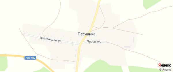 Центральная улица на карте поселка Песчанки с номерами домов
