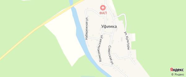 Школьный переулок на карте поселка Уфимки с номерами домов