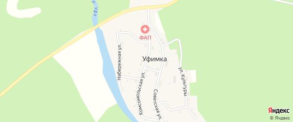 Комсомольская улица на карте поселка Уфимки с номерами домов