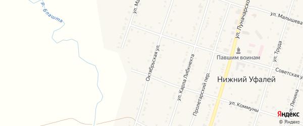 Октябрьская улица на карте поселка Нижнего Уфалея с номерами домов