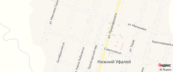 Улица Карла Либкнехта на карте поселка Нижнего Уфалея с номерами домов