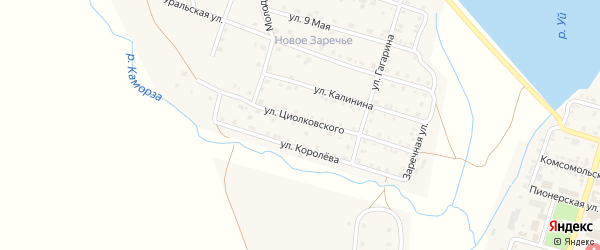 Улица Циолковского на карте Уйского села с номерами домов