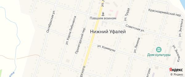 Улица Луначарского на карте поселка Нижнего Уфалея с номерами домов
