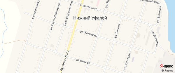 Пролетарский переулок на карте поселка Нижнего Уфалея с номерами домов