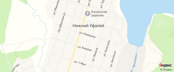 Карта поселка Нижнего Уфалея города Верхнего Уфалея в Челябинской области с улицами и номерами домов