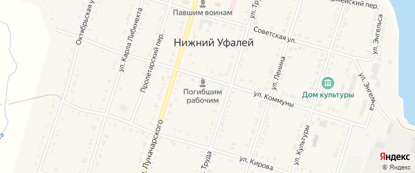 Лесной переулок на карте поселка Нижнего Уфалея с номерами домов