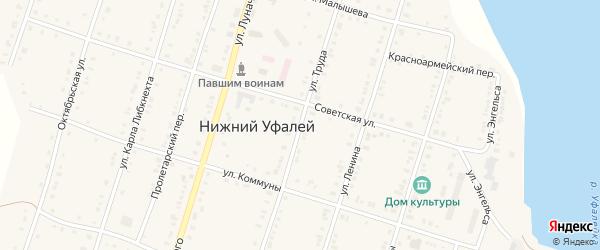 Улица Труда на карте поселка Нижнего Уфалея с номерами домов