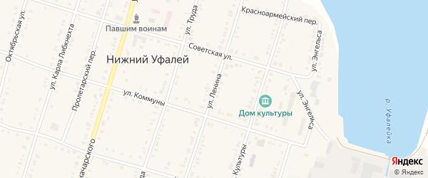Улица Ленина на карте поселка Нижнего Уфалея с номерами домов