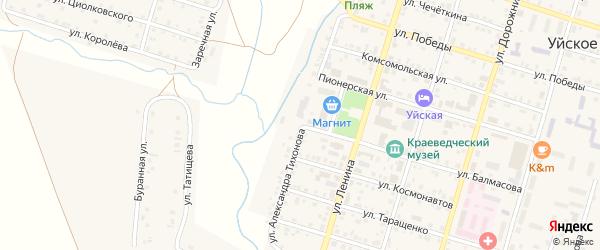 Улица Александра Тихонова на карте Уйского села с номерами домов