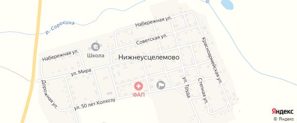 Солнечная улица на карте села Нижнеусцелемово с номерами домов