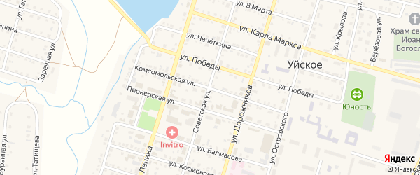 Комсомольская улица на карте Уйского села с номерами домов