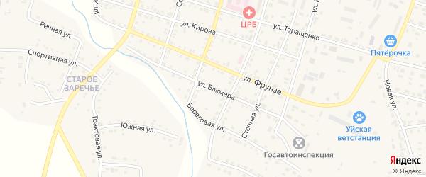 Улица Блюхера на карте Уйского села с номерами домов