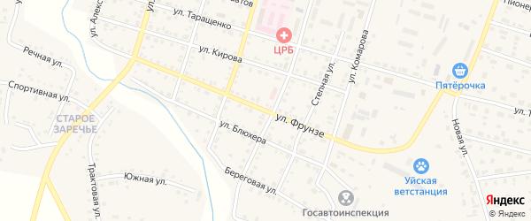 Улица Фрунзе на карте Уйского села с номерами домов