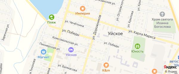 Улица Победы на карте Уйского села с номерами домов