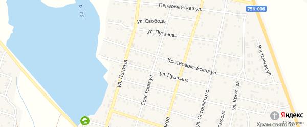 Советская улица на карте Уйского села с номерами домов