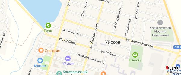 Улица Чечеткина на карте Уйского села с номерами домов