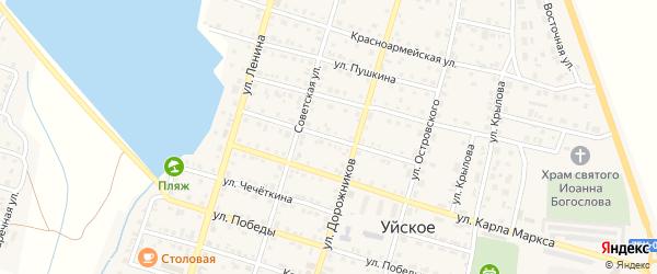 Улица 8 Марта на карте Уйского села с номерами домов