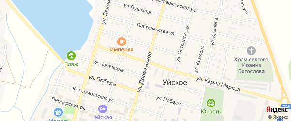 Улица Дорожников на карте Уйского села с номерами домов