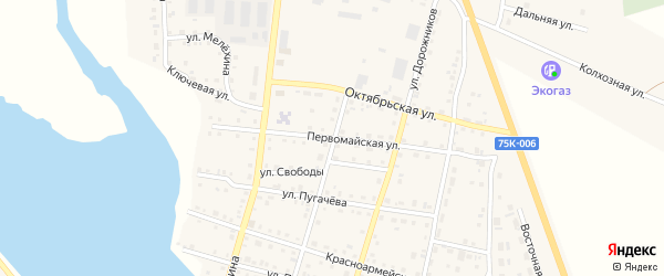 Первомайская улица на карте Уйского села с номерами домов